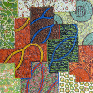 """Strong Connection, 24"""" x 24"""", acrylic and pumic on panel, 2008"""