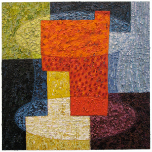 "Vessel I, 24"" x 24"", acrylic and pumice on panel, 2009"