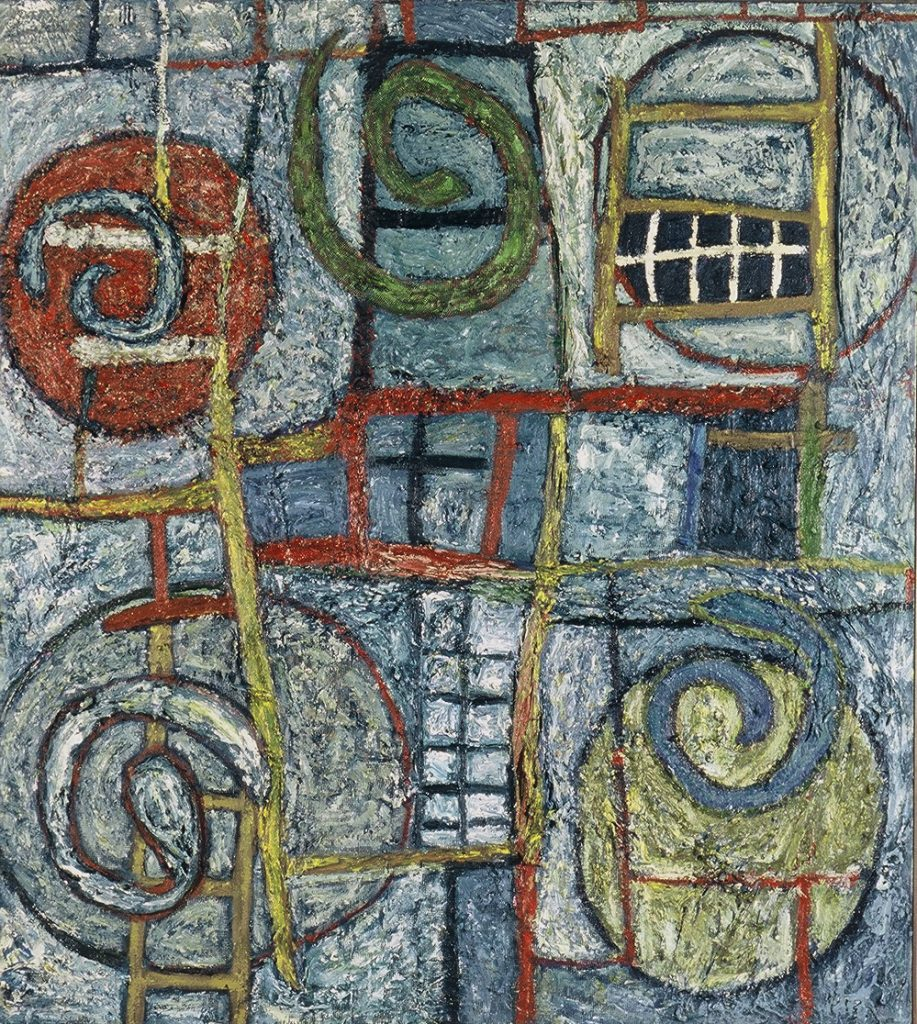 """Hiding Places, acrylic and mixed media on canvas, 60"""" x 54"""", 1990s"""