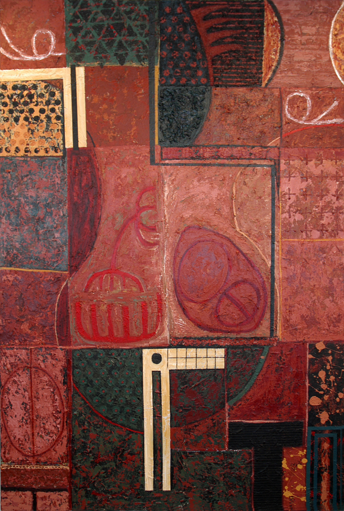 """One Person, acrylic and modeling paste on canvas, 72"""" x 48"""", 1990s"""
