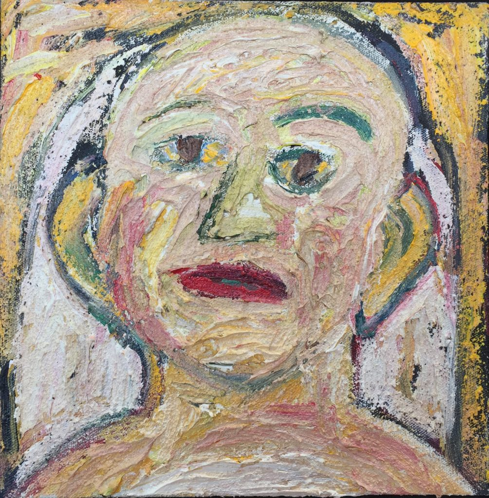 """Wedding Portrait: the Bride, acrylic and pumice on canvas, 8"""" x 8"""""""
